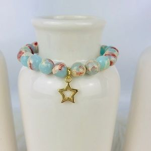 Sea Sediment Jasper Star Beaded Bracelet-982